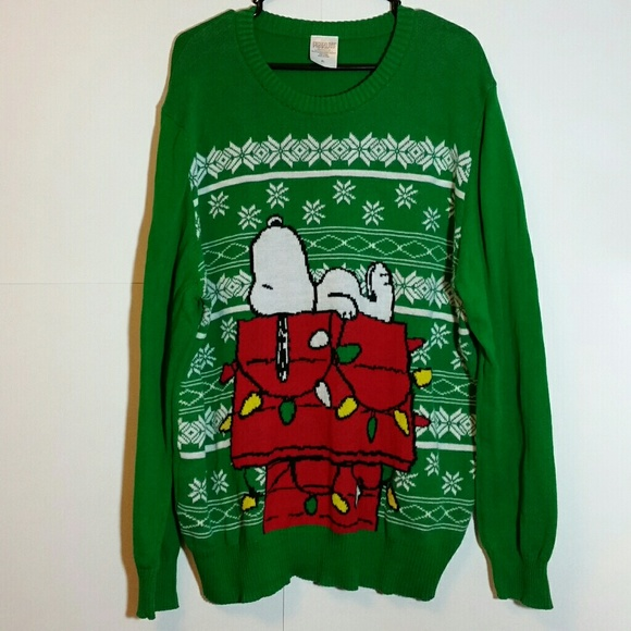 peanuts snoopy christmas sweater holiday green xl